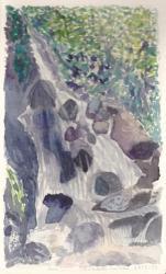 Cailloux cascade aquarelle nathalie 2013