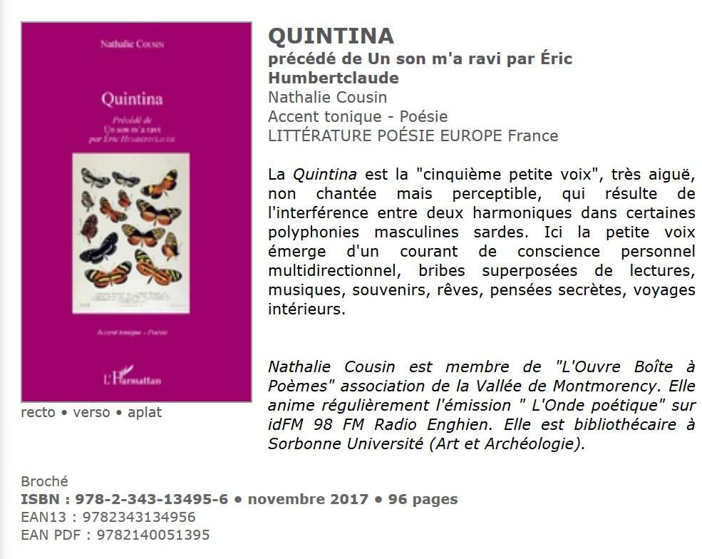 Cousin quintina annonce parution