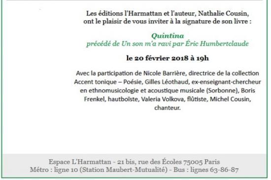 Nathalie cousin lecture signature quintina 20 fev 2018